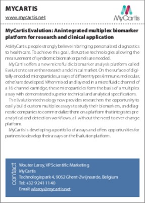 MyCartis Evalution: An integrated multiplex biomarker platform for research and clinical application