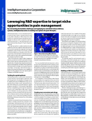 Leveraging R&D expertise to target niche opportunities in pain management