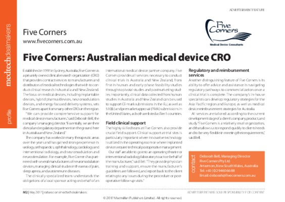 Five Corners: Australian medical device CRO