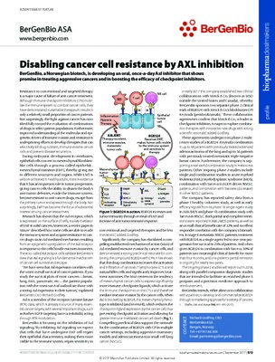 Disabling cancer cell resistance by AXL inhibition