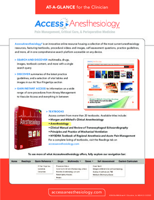 AccessAnesthesiology - Clinician At-a-Glance Guide