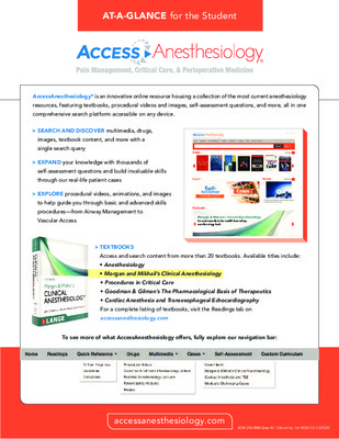 AccessAnesthesiology - Student At-a-Glance Guide